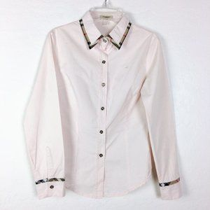 Burberry Baby Pink Button Down Blouse Size Medium